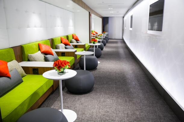 American Express airport lounge adds value to the customer experience in LaGuardia Airport.