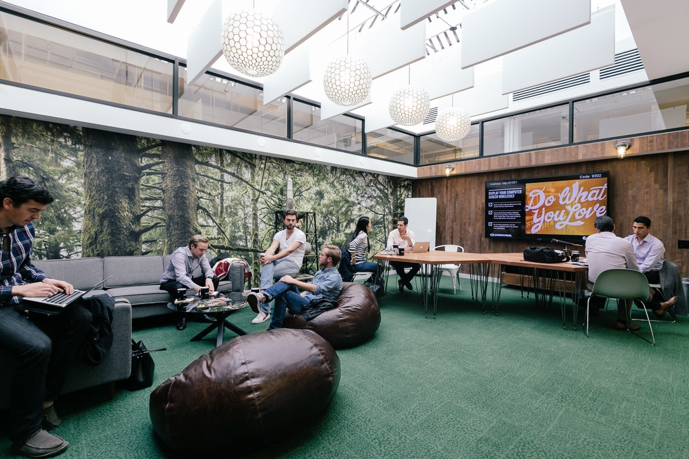Members in the lounge of WeWork West Broadway in New York City.